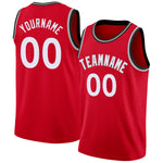 Custom Red White-Silver Gray Round Neck Rib-Knit Basketball Jersey