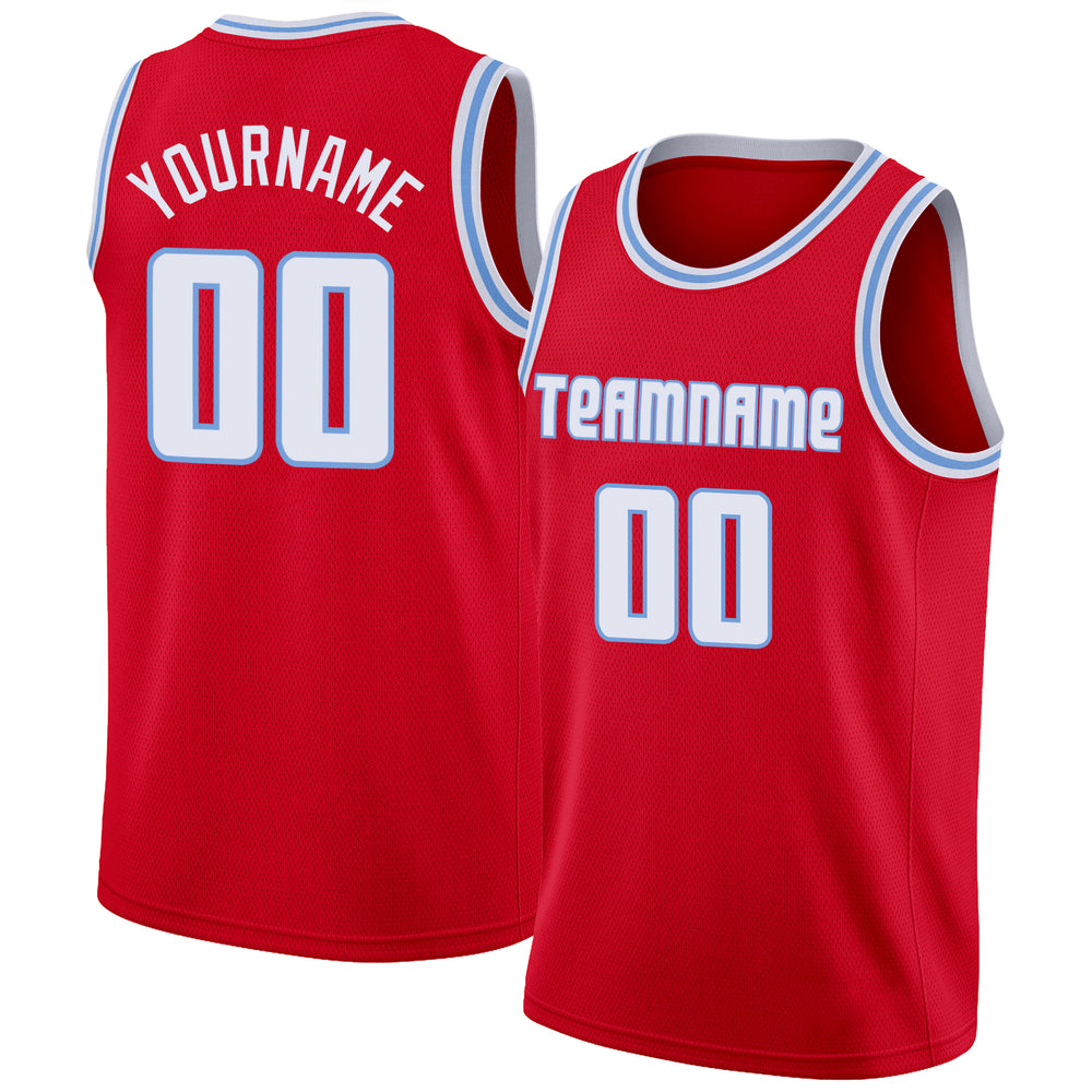 Custom Red White-Light Blue Round Neck Rib-Knit Basketball Jersey