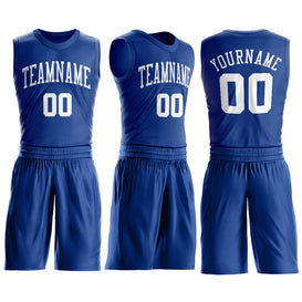 Custom Royal White Round Neck Suit Basketball Jersey