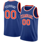 Custom Royal Orange-White Round Neck Rib-Knit Basketball Jersey
