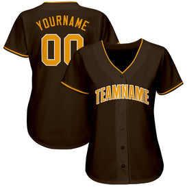 Custom Brown Gold-White Baseball Jersey