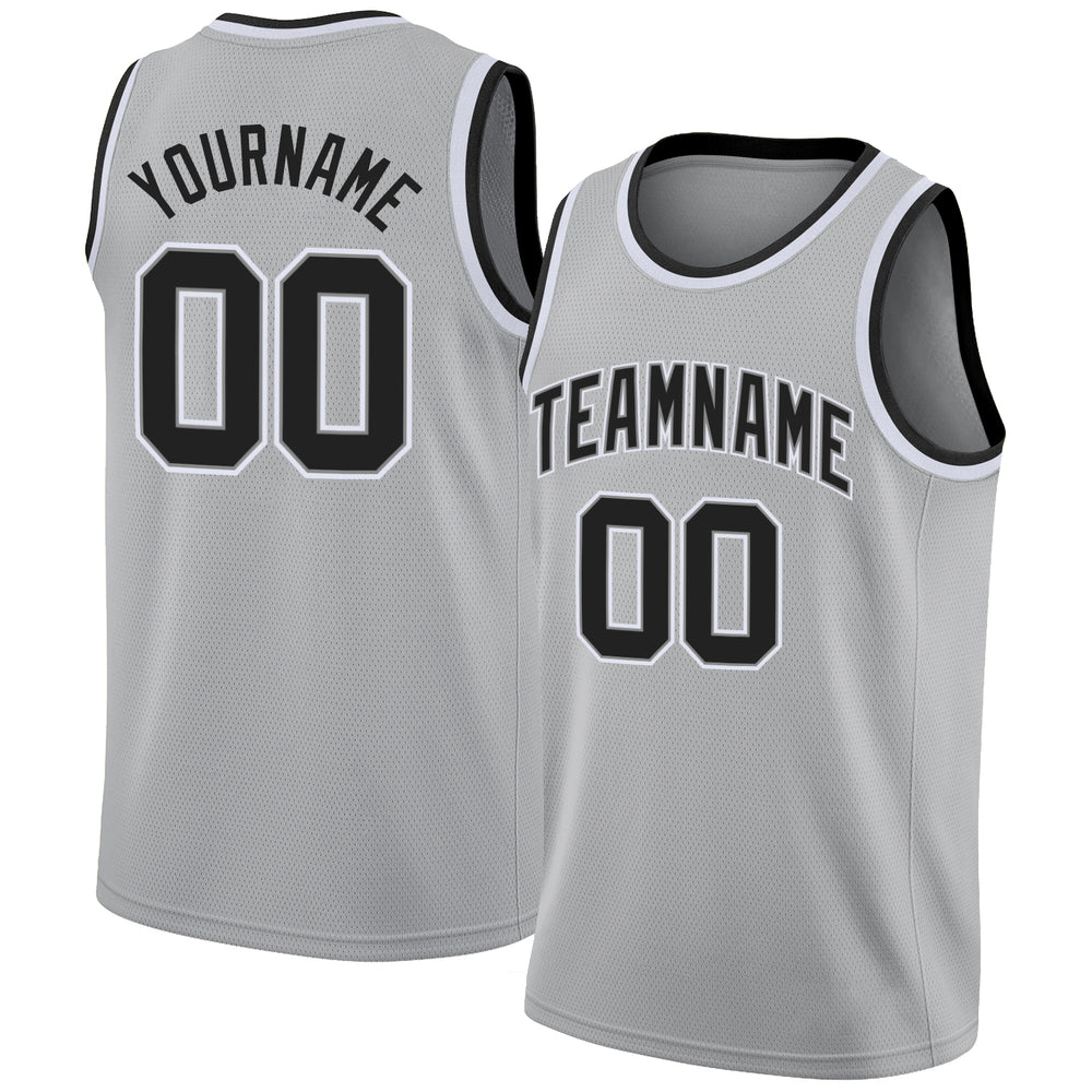 Custom Silver Gray Black-White Round Neck Rib-Knit Basketball Jersey