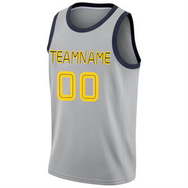 Custom Silver Gray Gold-Navy Round Neck Rib-Knit Basketball Jersey