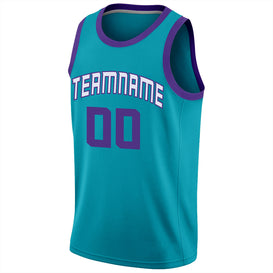 Custom Teal Purple-White Round Neck Rib-Knit Basketball Jersey