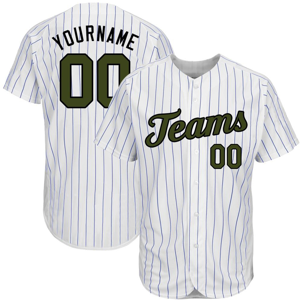 Custom White Royal Strip Olive-Black Authentic Memorial Day Baseball Jersey