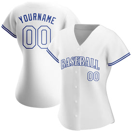 Custom White White-Royal Authentic Baseball Jersey