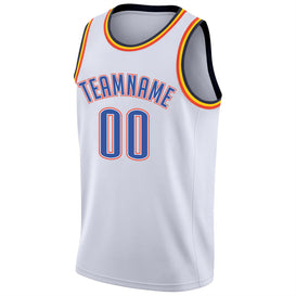 Custom White Blue-Orange Round Neck Rib-Knit Basketball Jersey
