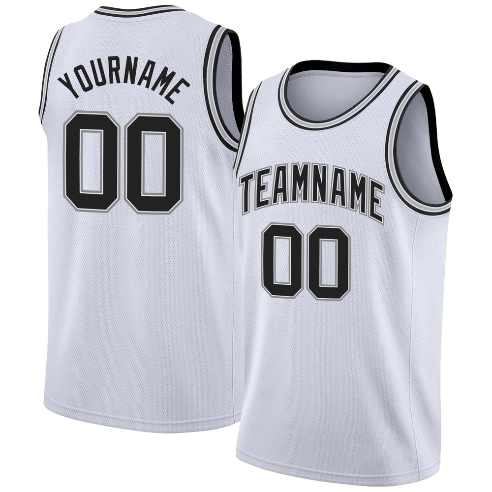 Custom White Black-Silver Gray Round Neck Rib-Knit Basketball Jersey
