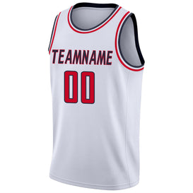 Custom White Red-Navy Round Neck Rib-Knit Basketball Jersey