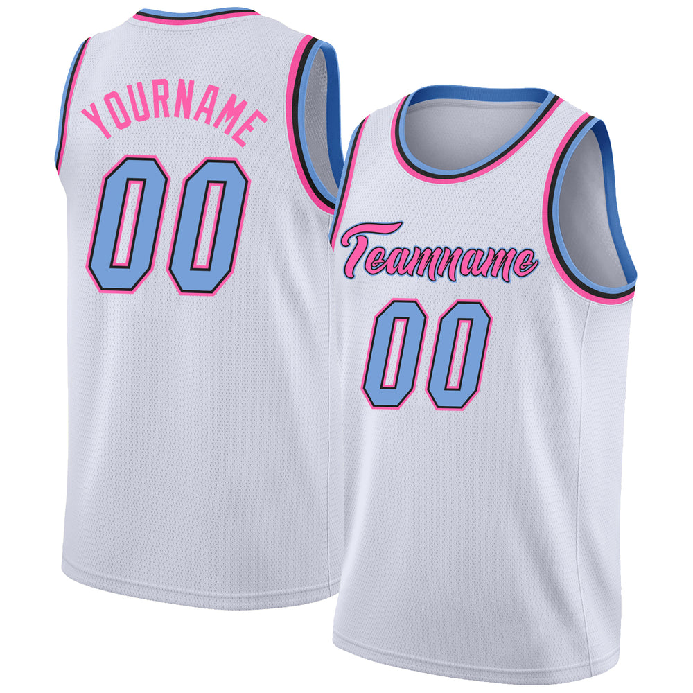 Custom White Light Blue-Pink Round Neck Rib-Knit Basketball Jersey