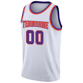 Custom White Purple-Orange Round Neck Rib-Knit Basketball Jersey