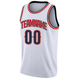 Custom White Navy-Red Round Neck Rib-Knit Basketball Jersey