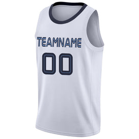Custom White Navy-Light Blue Round Neck Rib-Knit Basketball Jersey