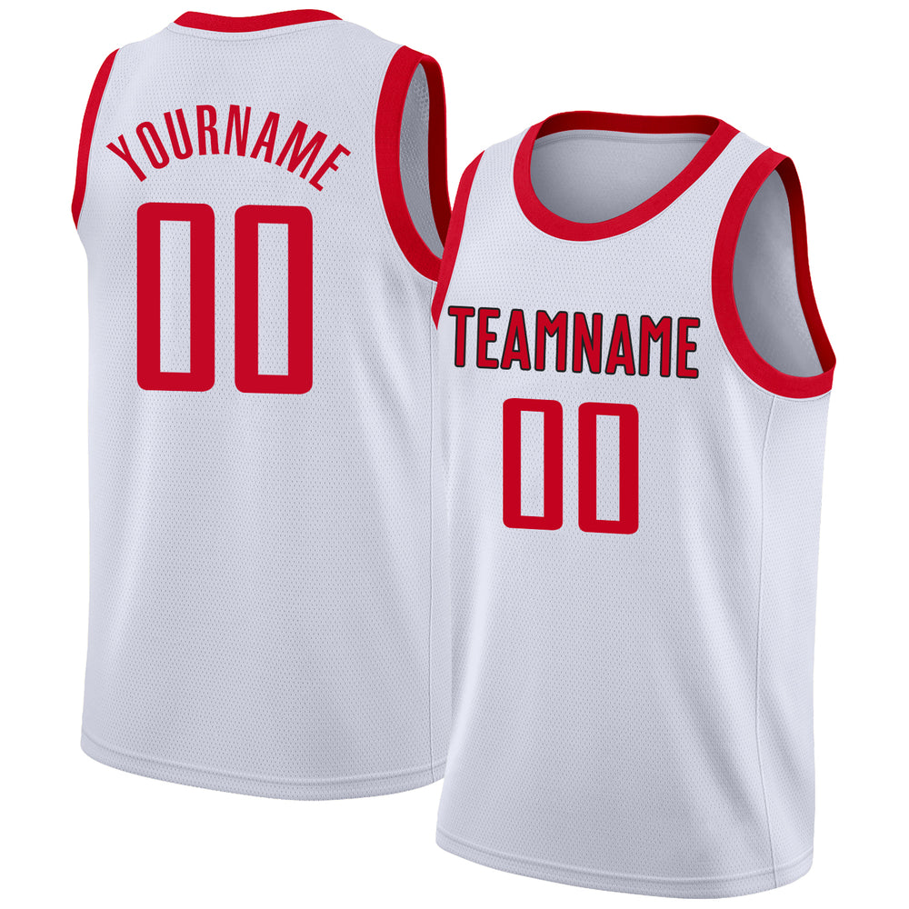 Custom White Red-Black Round Neck Rib-Knit Basketball Jersey