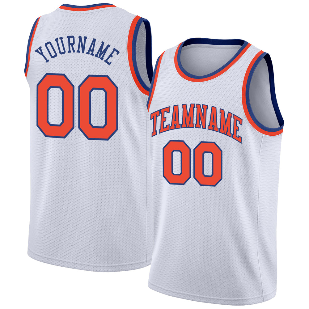 Custom White Orange-Royal Round Neck Rib-Knit Basketball Jersey