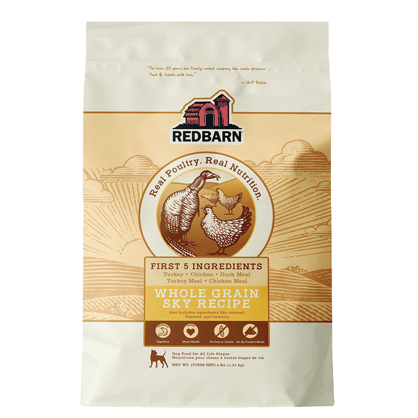 Now Available!<br></br>Whole Grain Sky Recipe Dog Food- Redbarn