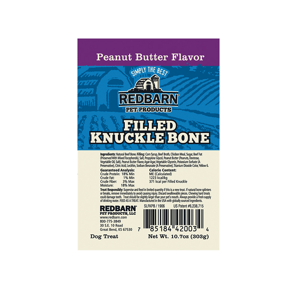 Filled Knuckle Bone Peanut Butter Flavor- Redbarn