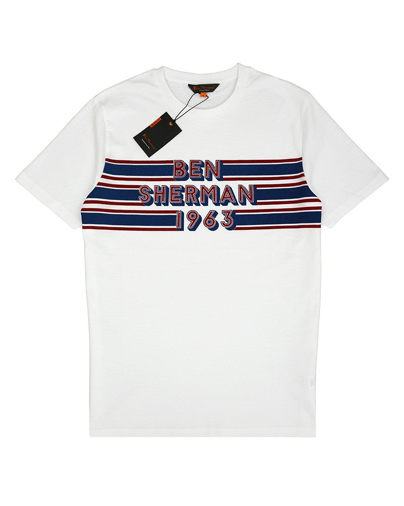 BEN SHERMAN RETRO CHEST T-SHIRT WHITE