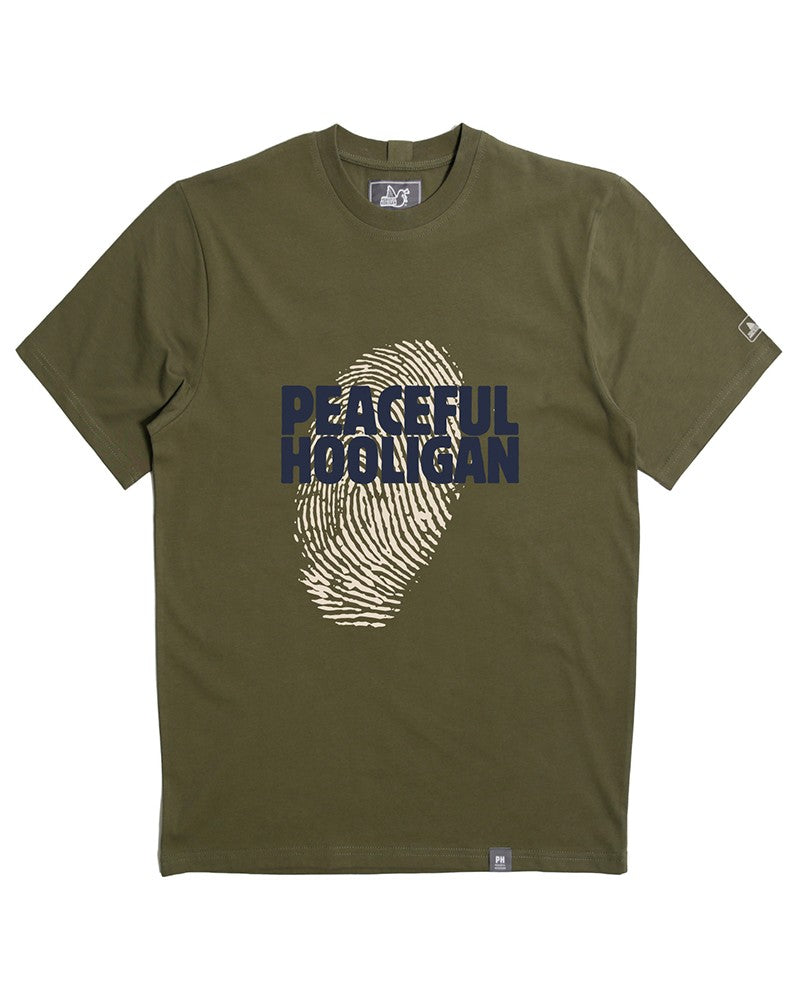 PEACEFUL HOOLIGAN THUMB PRINT OLIVE T-SHIRT