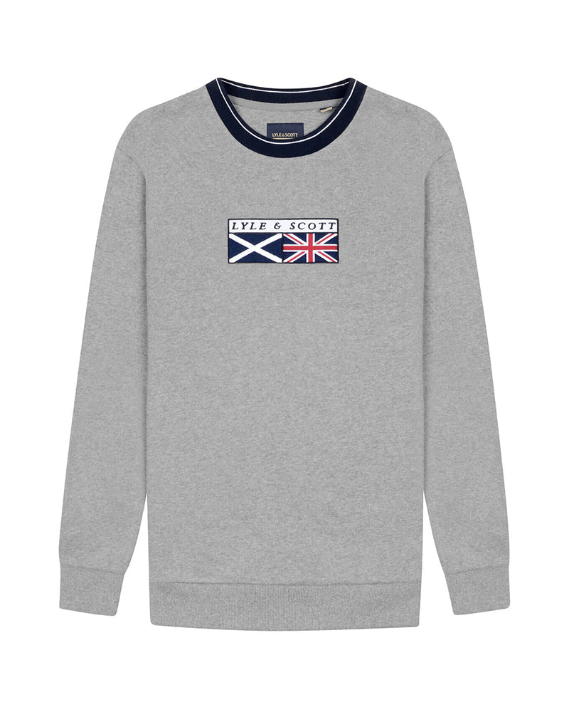 LYLE & SCOTT FLAG TIPPED SWEATSHIRT GREY BLUZA