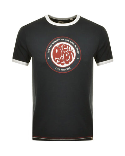 PRETTY GREEN LIKEMINDED LOGO PRINT BLACK T-SHIRT