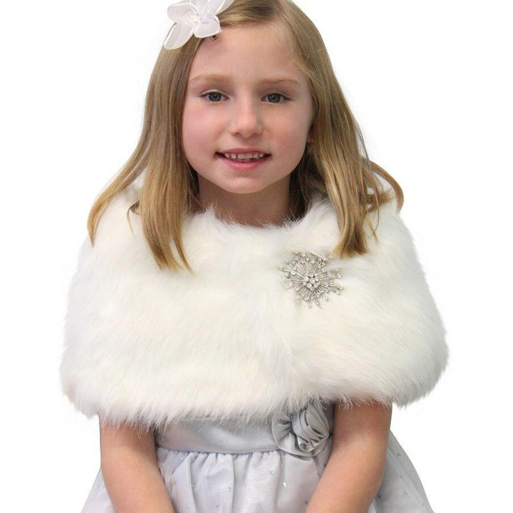 IVORY FAUX FUR WRAP FOR KIDS