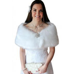 WHITE FAUX FUR BRIDAL WRAP, WEDDING STOLE AND SHRUG WITH FREE BROOCH