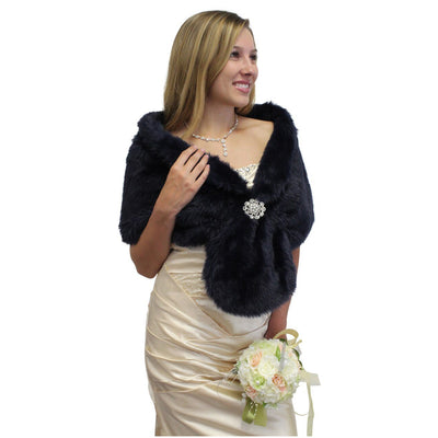 NAVY BLUE FAUX FUR STOLE, WRAP, SHRUG, SHAWL