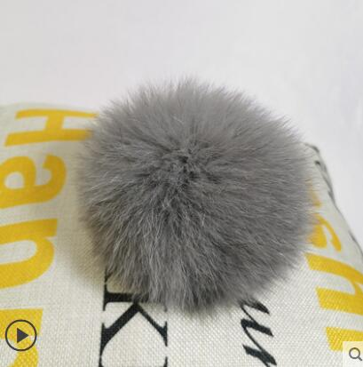 DIY Luxury Fur PomPom 100% Natural Fox Hairball Hat