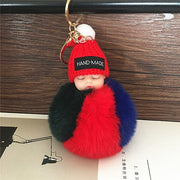 Cute Sleeping Baby Doll Key-chain Faux Pompom