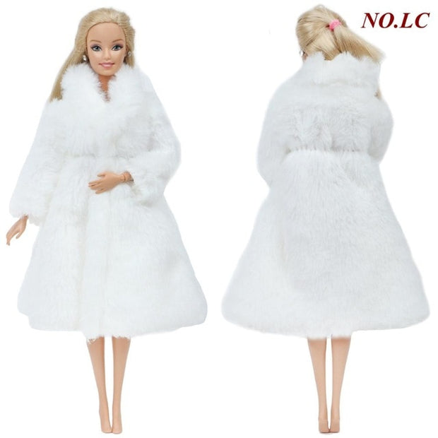 Handmade Doll Coat Dress Fur for Barbie Doll