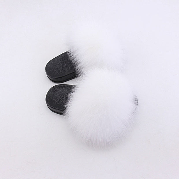 Kids Faux Fox Fur Slides Fluffy Fur Sandals Flip-Flops Fur Slippers