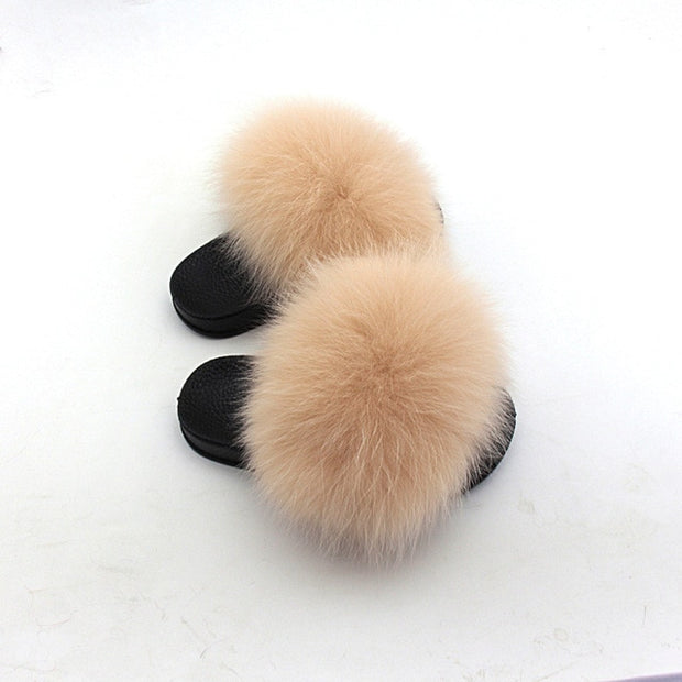 Kids Faux Fox Fur Slides