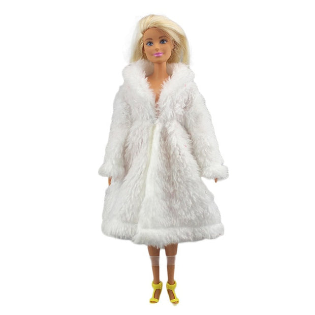 1 Set Long Sleeve Soft Fur Coat