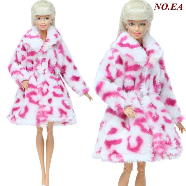 Handmade High Quality Doll Coat Dress Fur for Barbie Doll