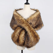 Faux Fur Wrap Brown Plush Scarf