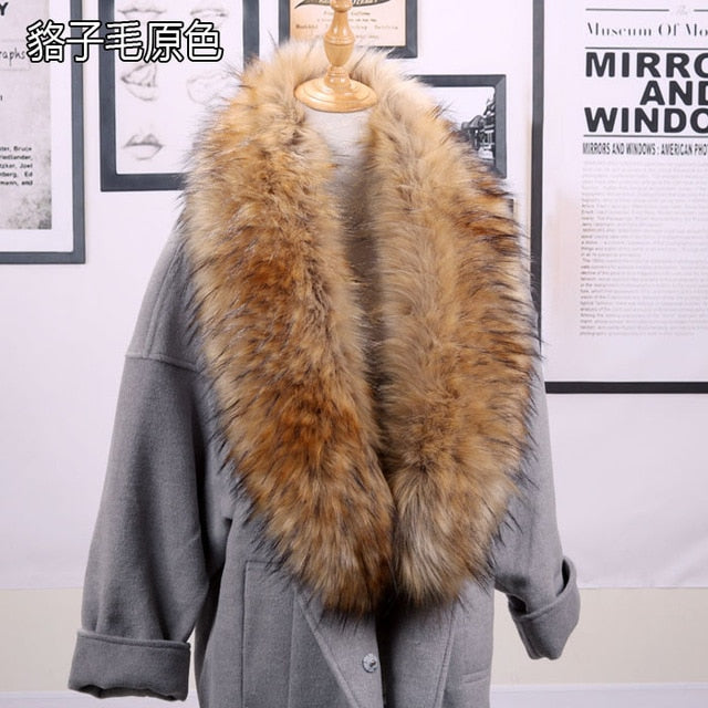 Faux Fur Scarf Super Long Luxurious Jackets Coat