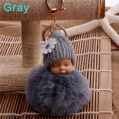 Sleeping Baby Doll Key-chain Pompom Faux Fur Coat