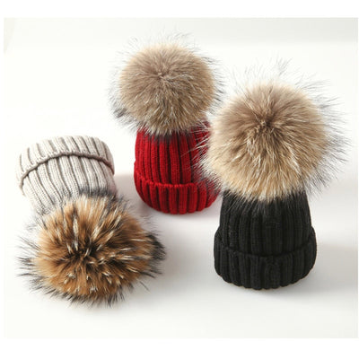 Winter Brand Female Fur Pom Poms Hat Winter