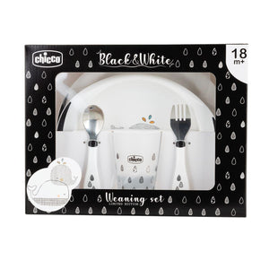 Chicco set de repas black and white baleines 00016202100000