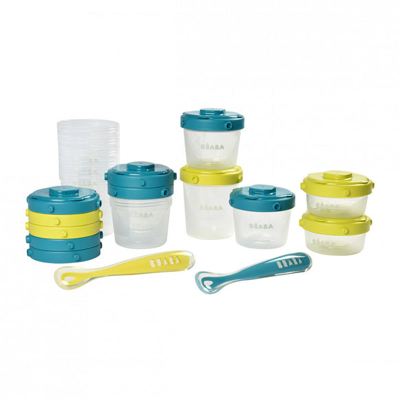 Beaba Pack 1er repas neon+blue - Set portions clip + Cuillères 1er âge silicone 913441