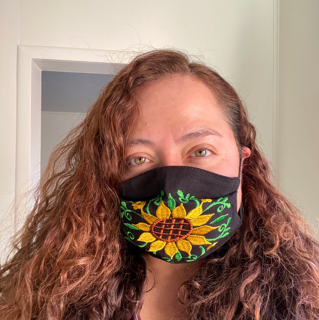 Black Sunflower Mexican Mask