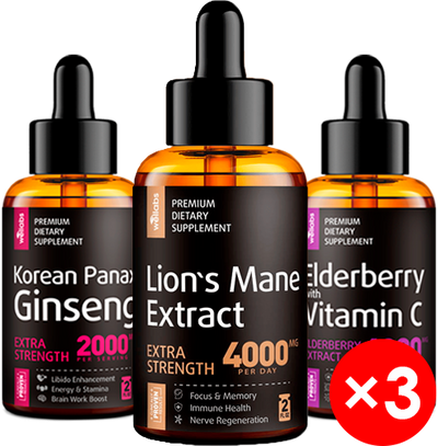 Liquid Panax Ginseng + Elderberry Syrup + Lion's Mane Extract - Family Pack Bundle x3