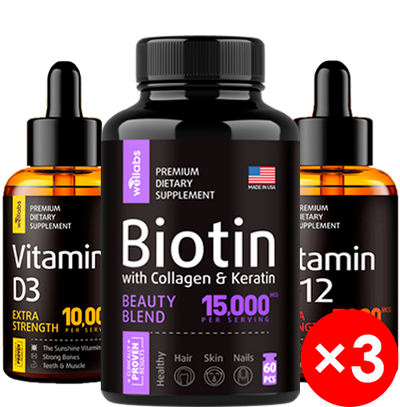Vitamin D3 Drops + Vitamin B-12 Drops + Biotin, Keratin, Collagen pills - Family Pack Bundle x3