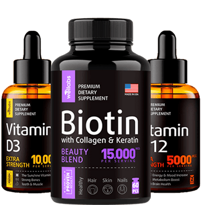 Vitamin D3 Drops + Vitamin B-12 Drops + Biotin, Keratin, Collagen pills - Bundle