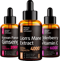 Liquid Panax Ginseng + Elderberry Syrup + Lion's Mane Extract - Bundle