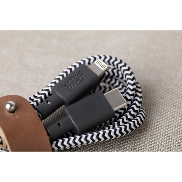 Native Union Belt Cable USB-C to Lightning 1,2m Zebra - iStore