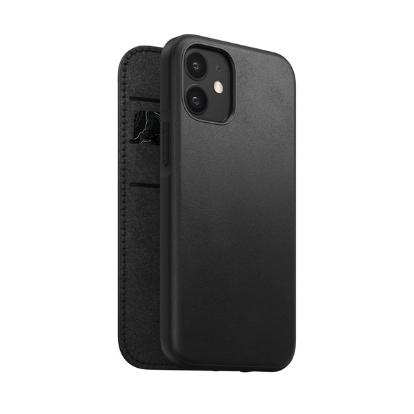 Nomad Rugged Folio Case Black Leather iPhone 12 Mini - iStore