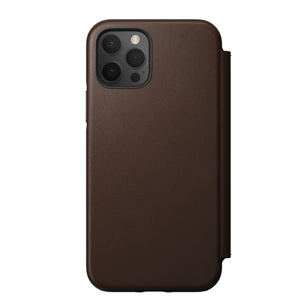 Rugged Folio Case Rustic Brown Leather iPhone 12 / 12 Pro - iStore