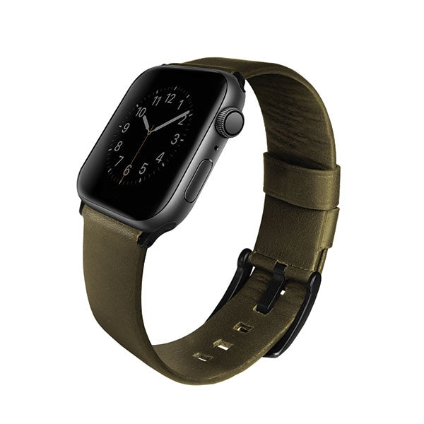 UNIQ Mondain Apple Watch 44mm. Genuine Lederarmband Olive - iStore